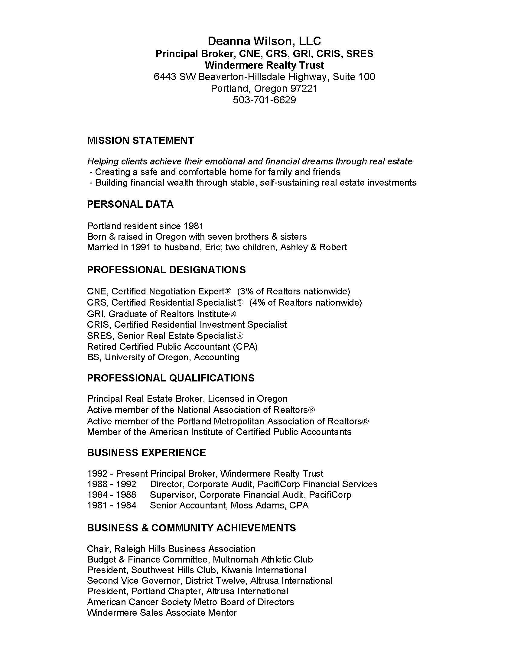 Professional Resume Deanna Wilson